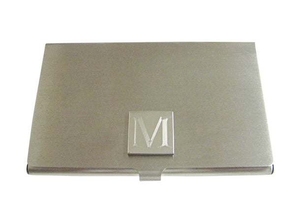 Letter M Etched Monogram Business Card Holder