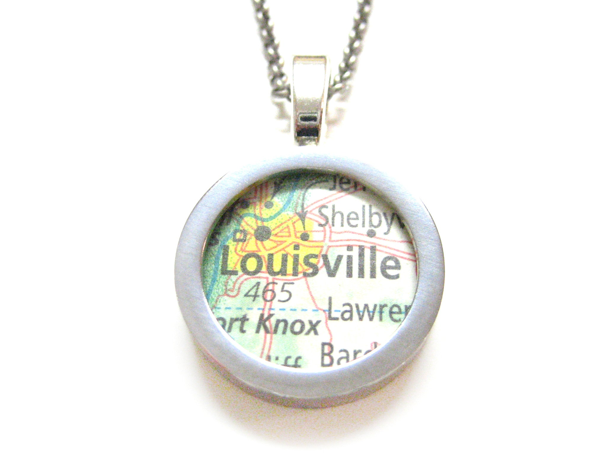 Louisville Kentucky Map Pendant Necklace