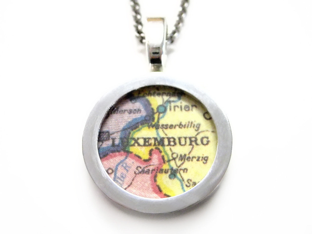 Luxemburg Map Pendant Necklace