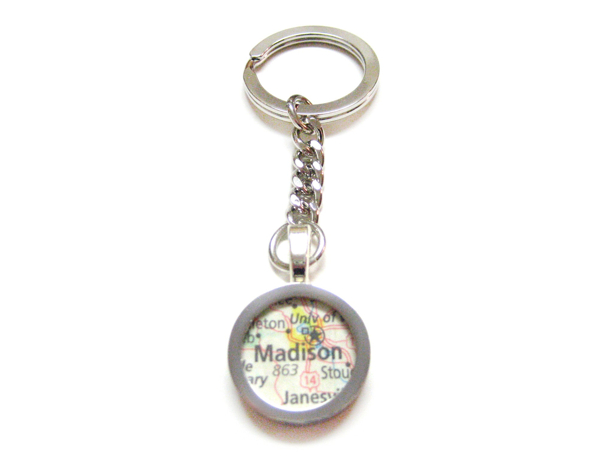 Madison Wisconsin Map Pendant Keychain