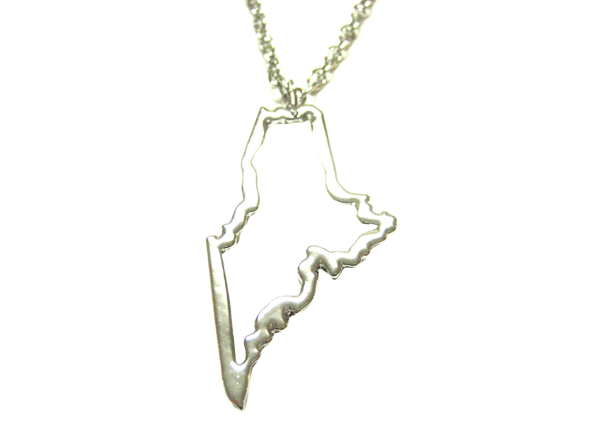 Silver Toned Maine State Map Outline Pendant Necklace