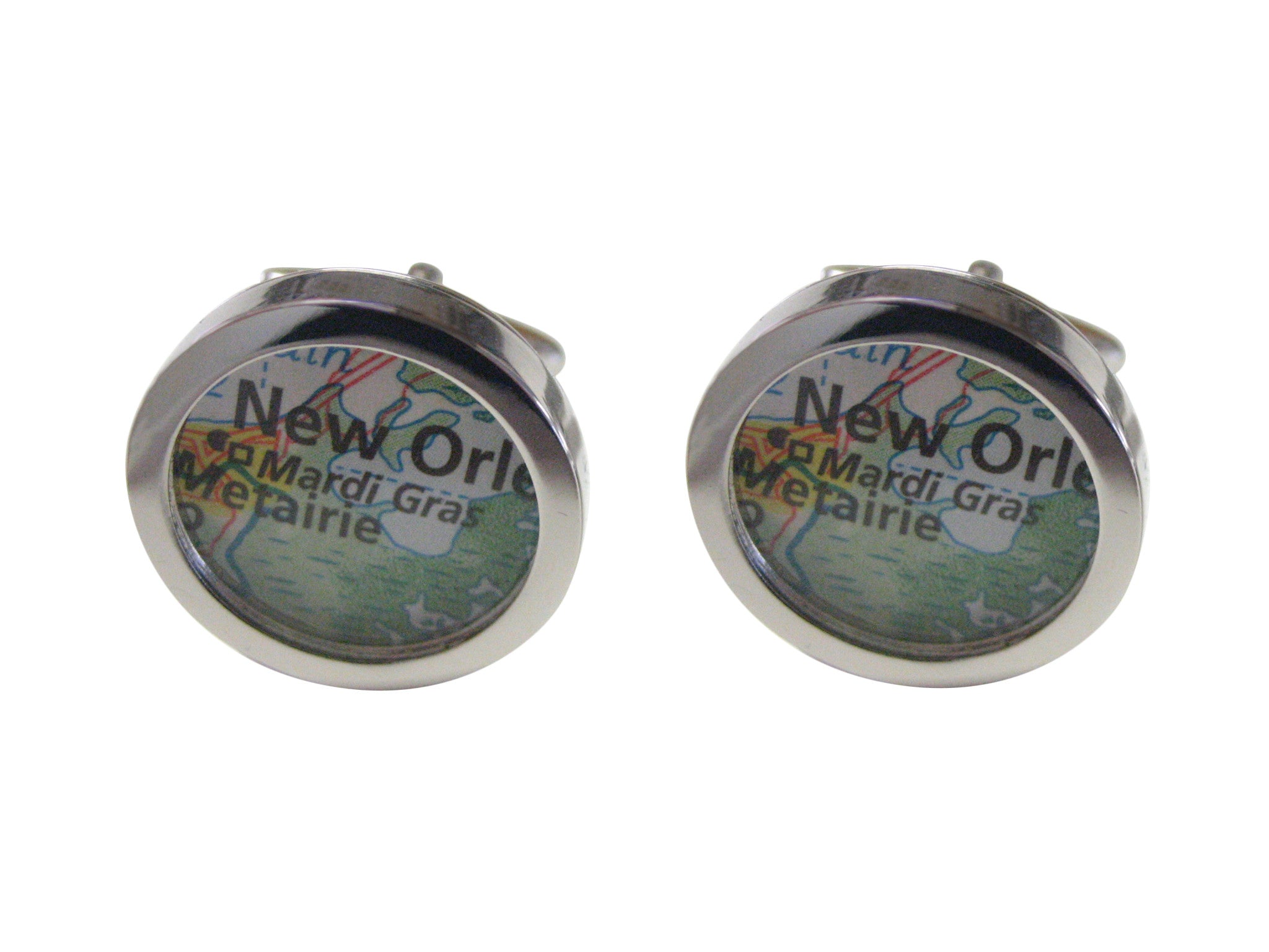 Mardi Gras Festival Map Cufflinks