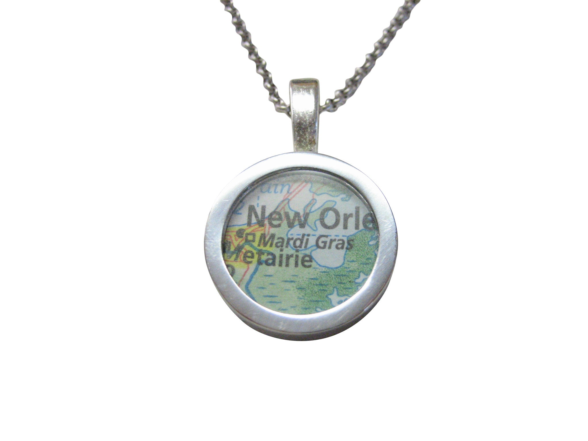 Mardi Gras Festival Map Pendant Necklace