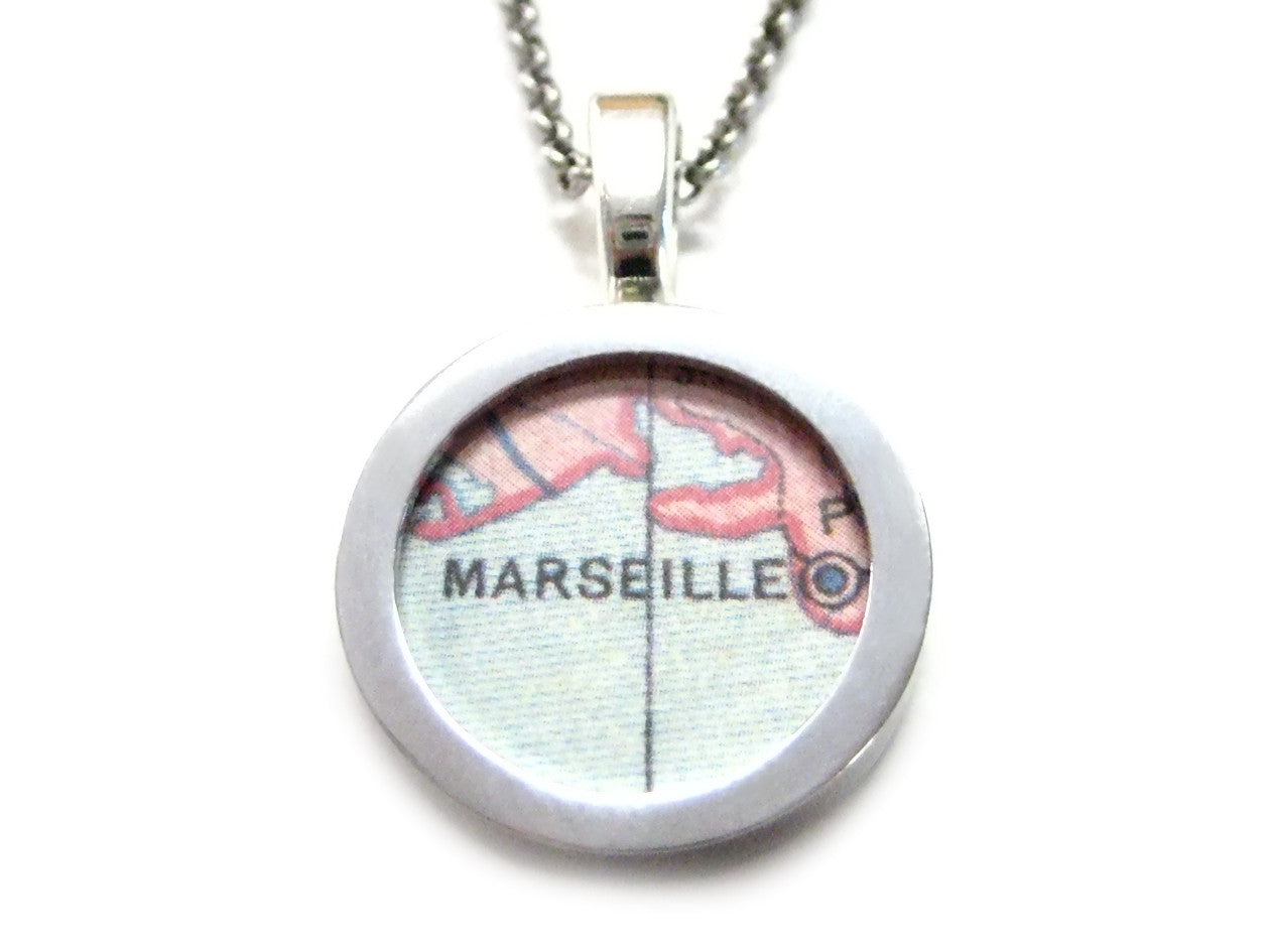 Marseille Map Pendant Necklace