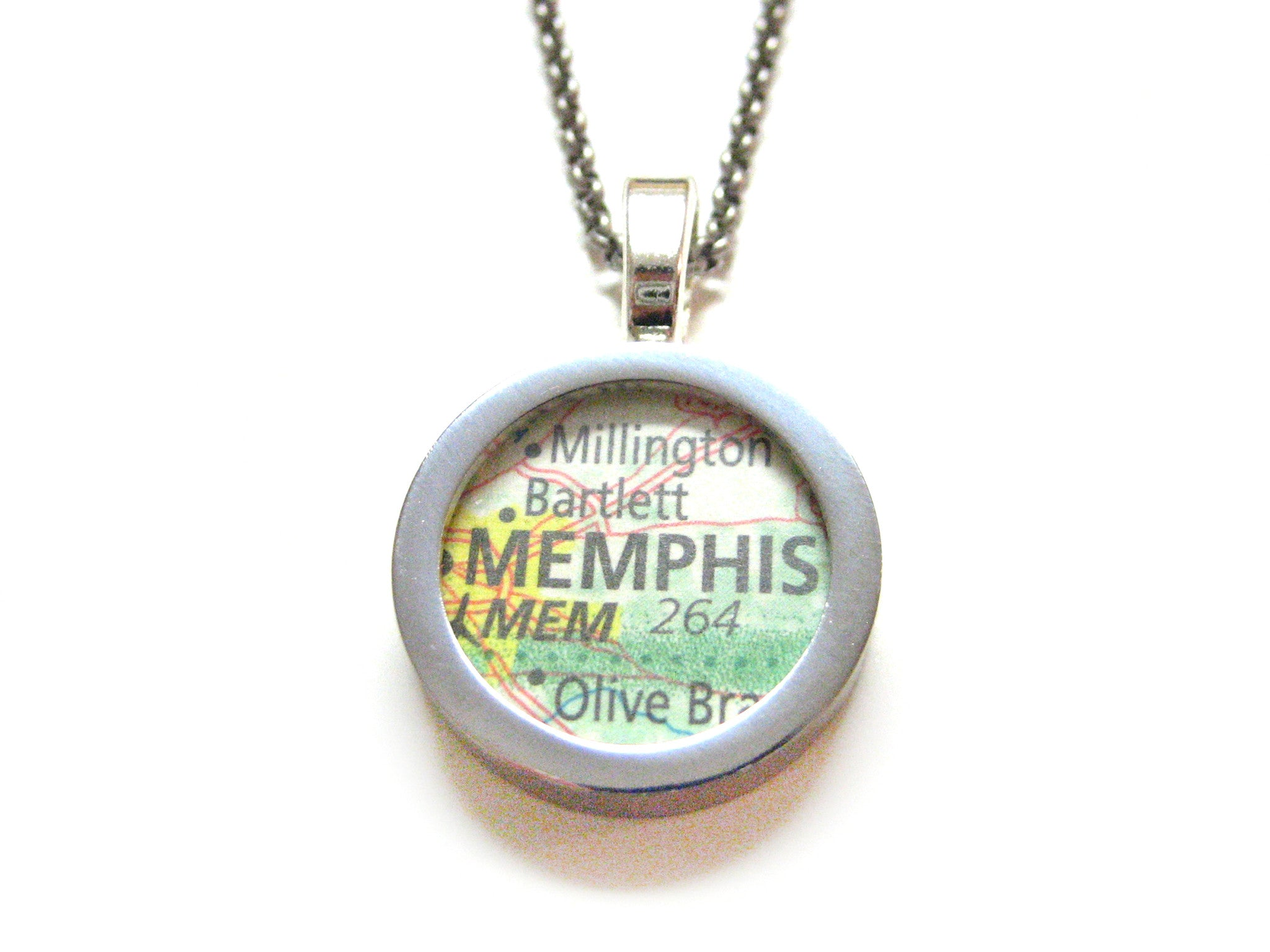 Memphis Tennessee Map Pendant Necklace
