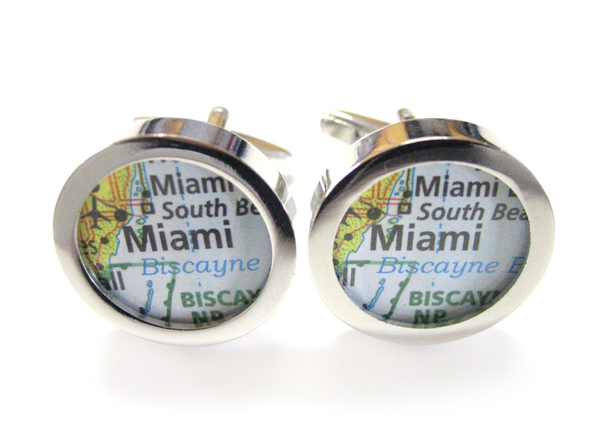 Miami Florida Map Cufflinks