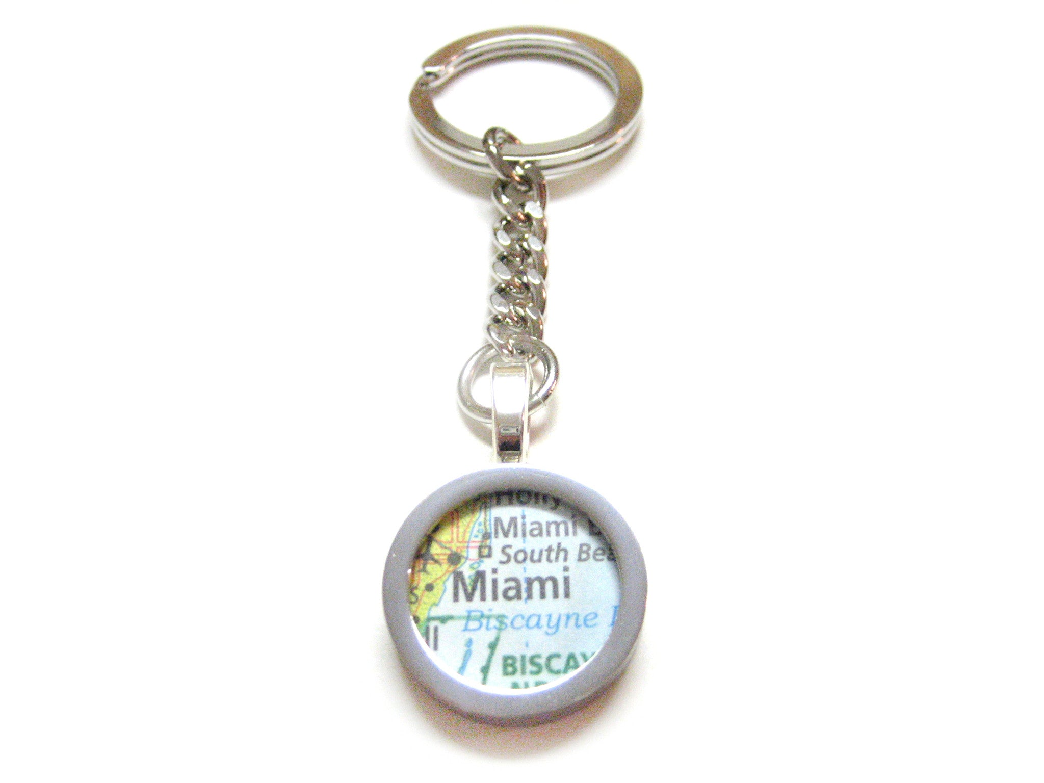 Miami Florida Map Pendant Keychain