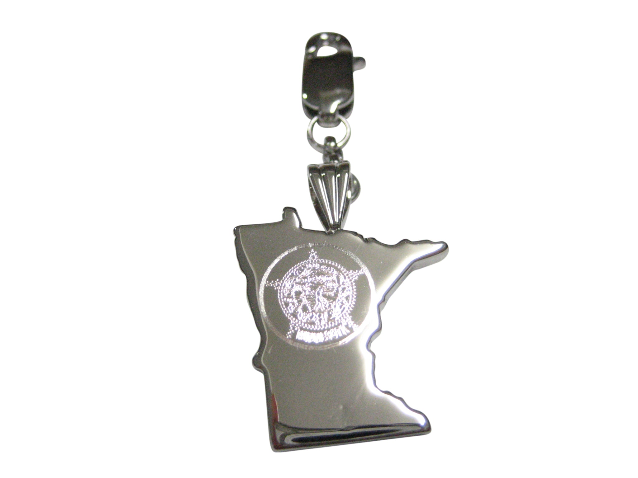 Minnesota State Map Shape and Flag Design Pendant Zipper Pull Charm