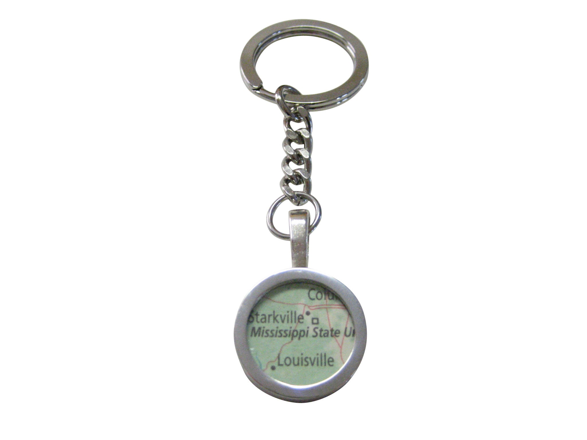 Mississippi State University Map Pendant Keychain
