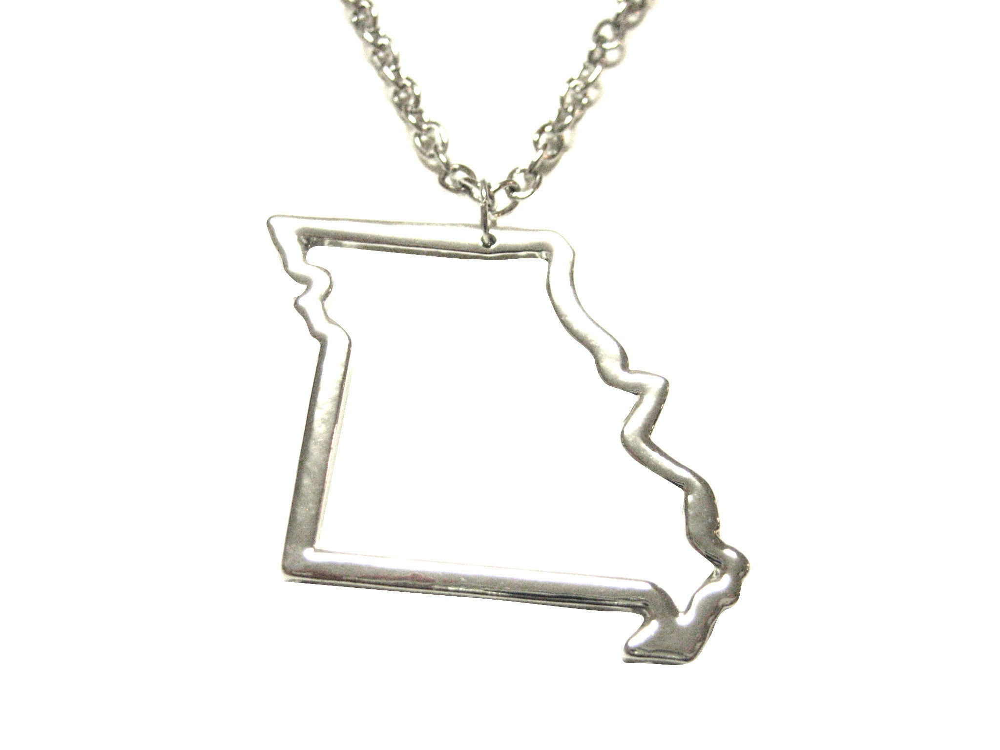 Silver Toned Missouri State Map Outline Pendant Necklace