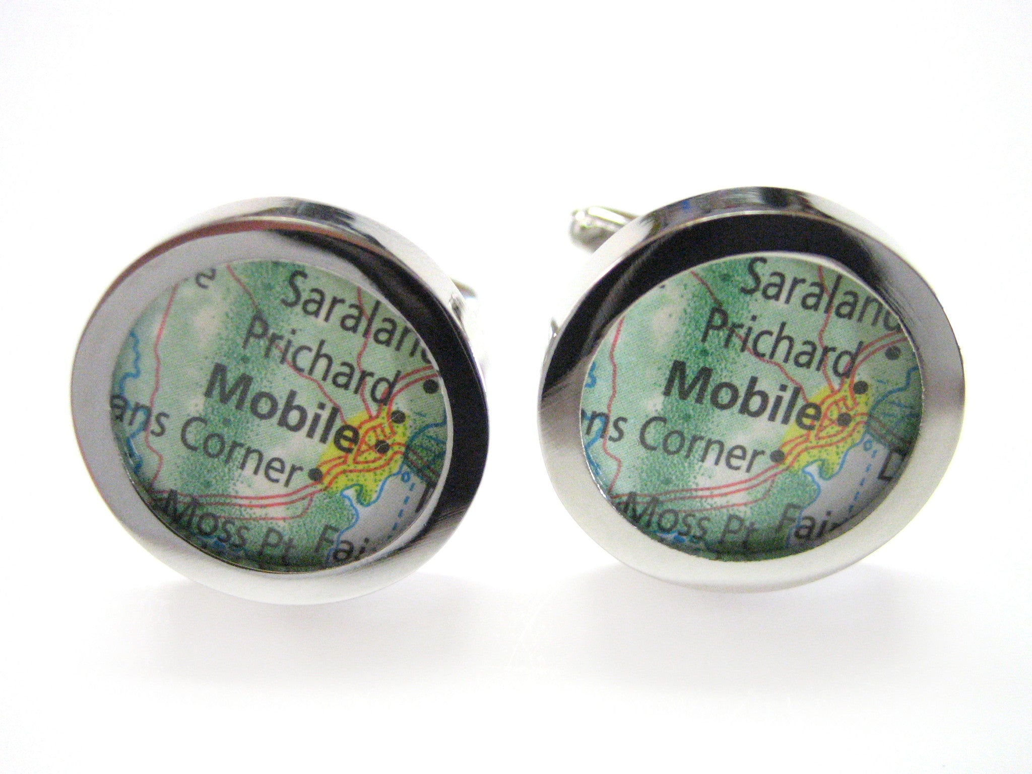 Mobile Alabama Map Cufflinks