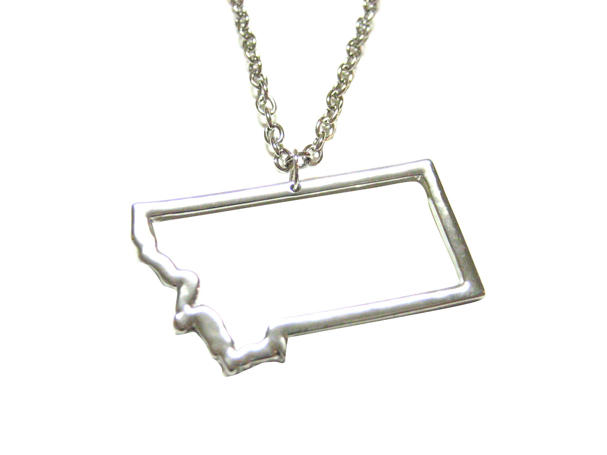 Silver Toned Montana State Map Outline Pendant Necklace