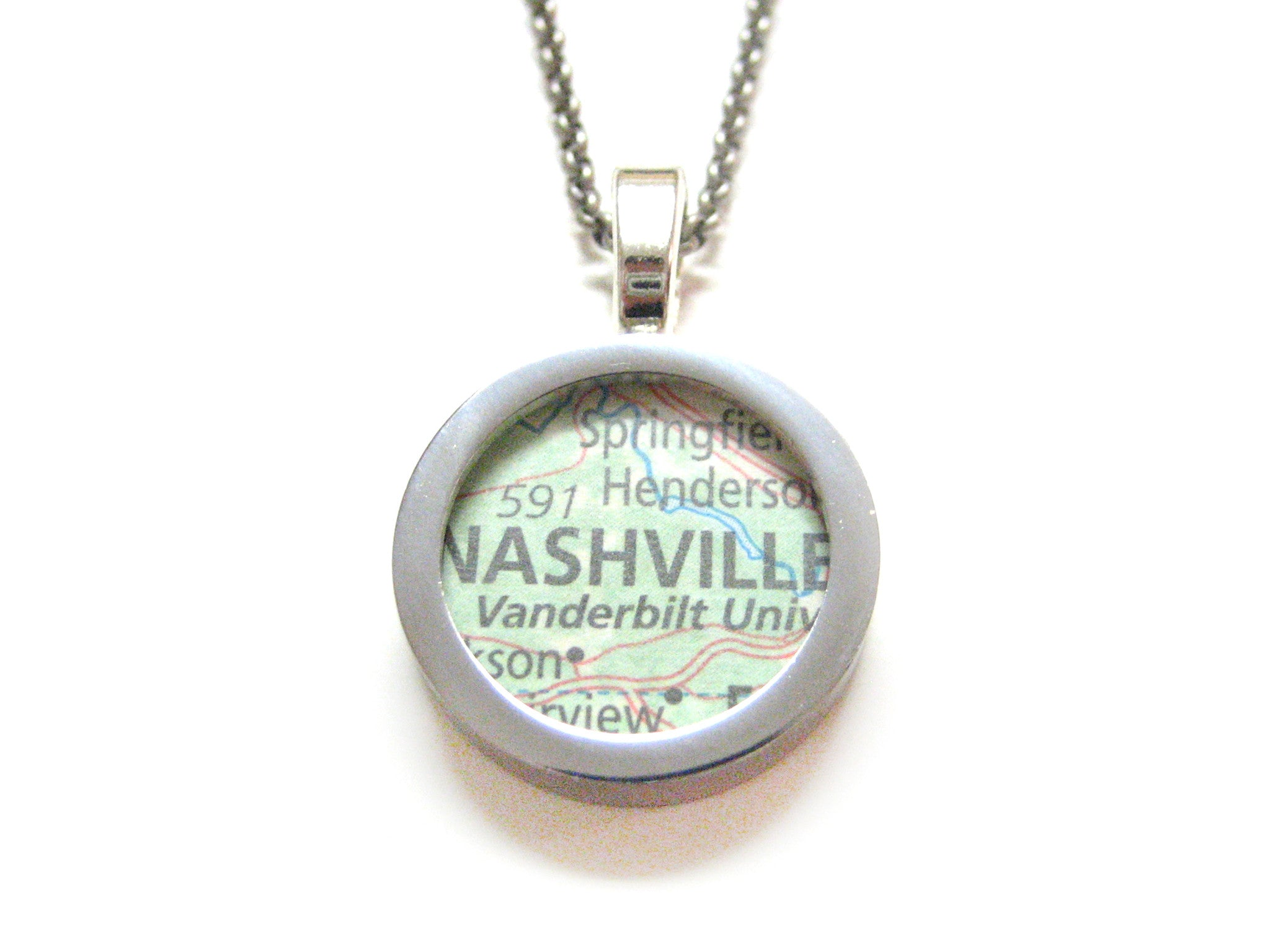Nashville Tennessee Map Pendant Necklace