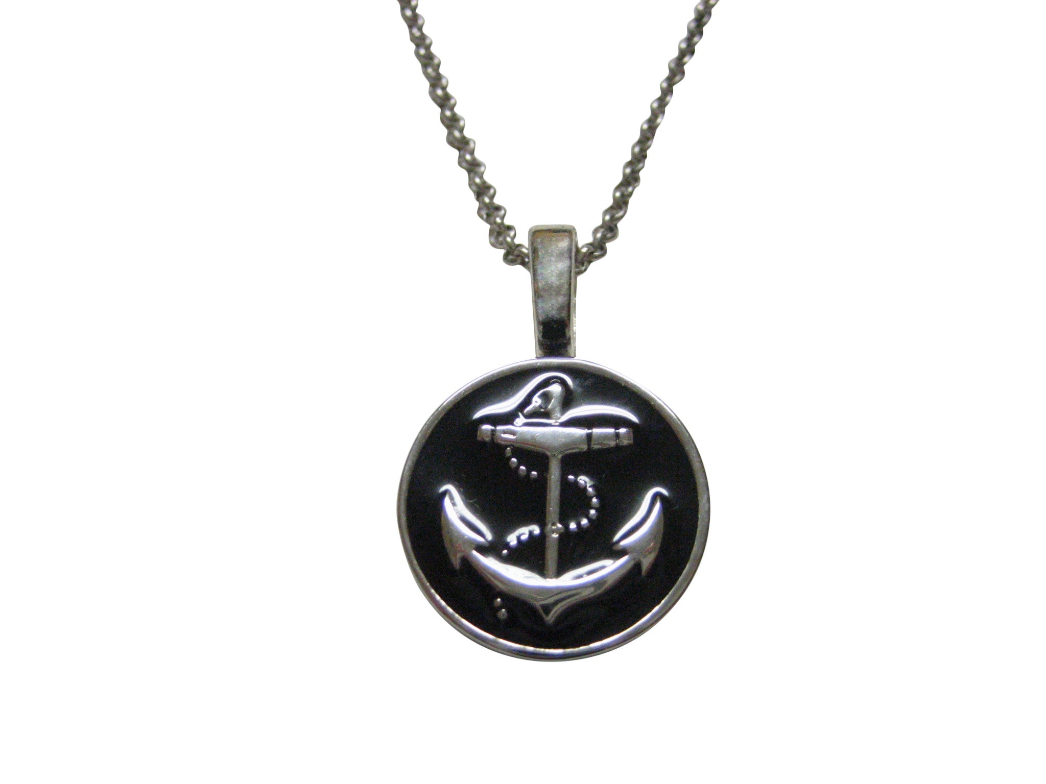 Nautical Black Anchor Pendant Necklace