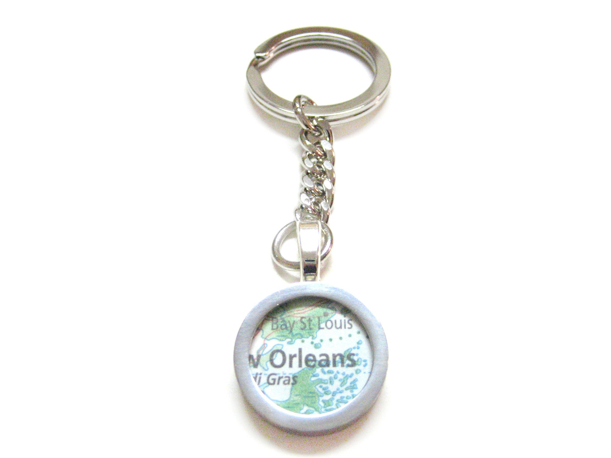 New Orleans Louisiana Map Pendant Key Chain