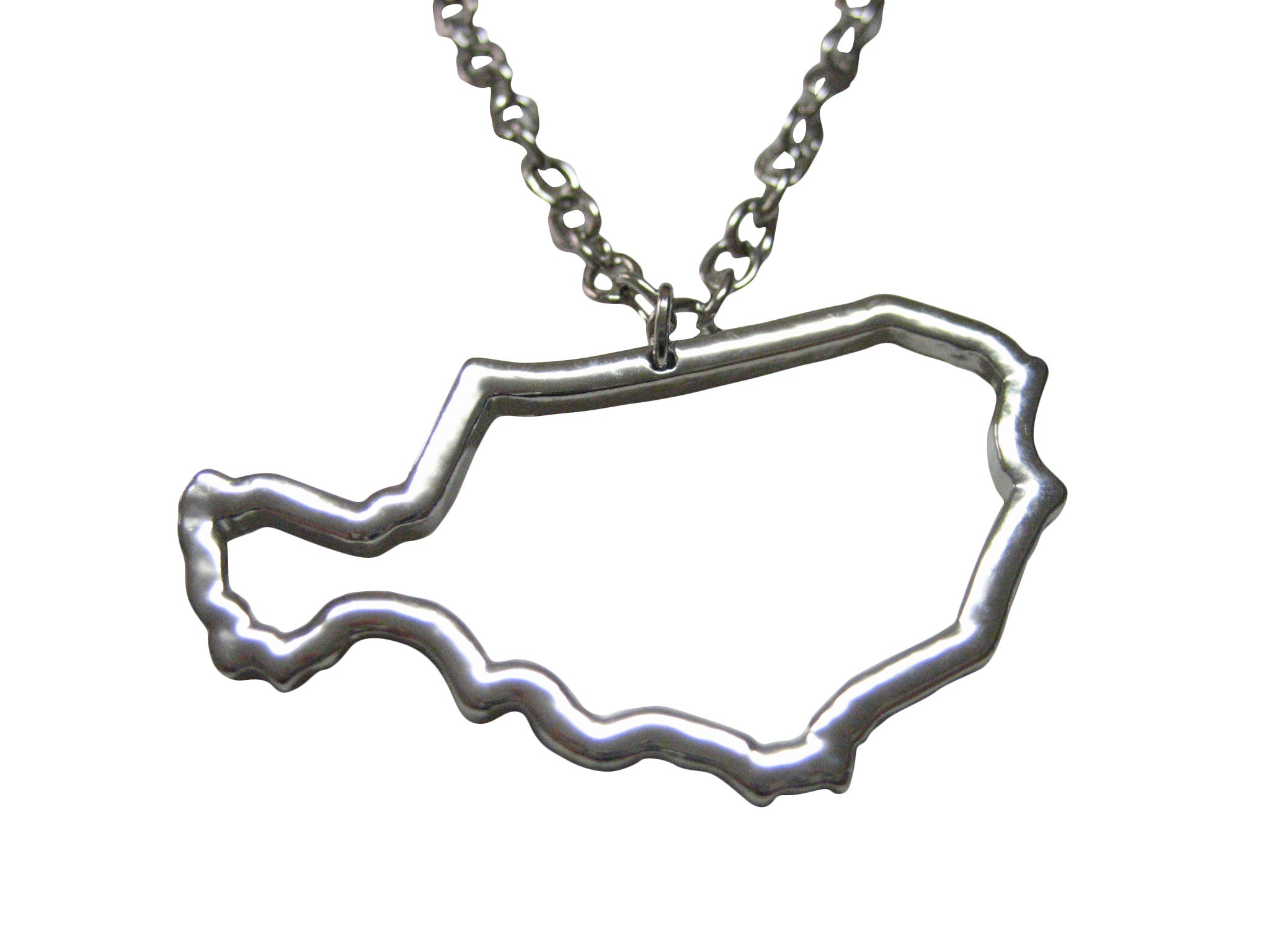 Silver Toned Niger Map Outline Pendant Necklace