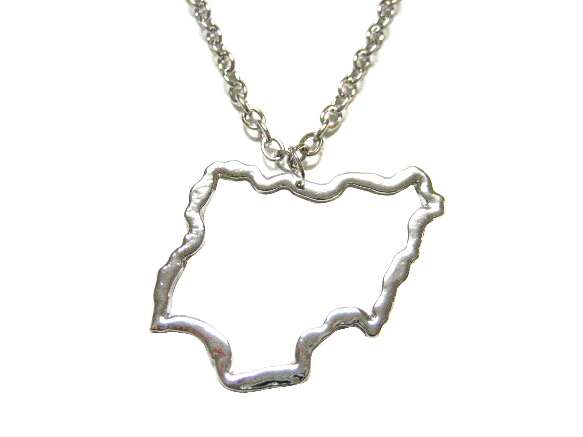 Silver Toned Nigeria Map Outline Pendant Necklace