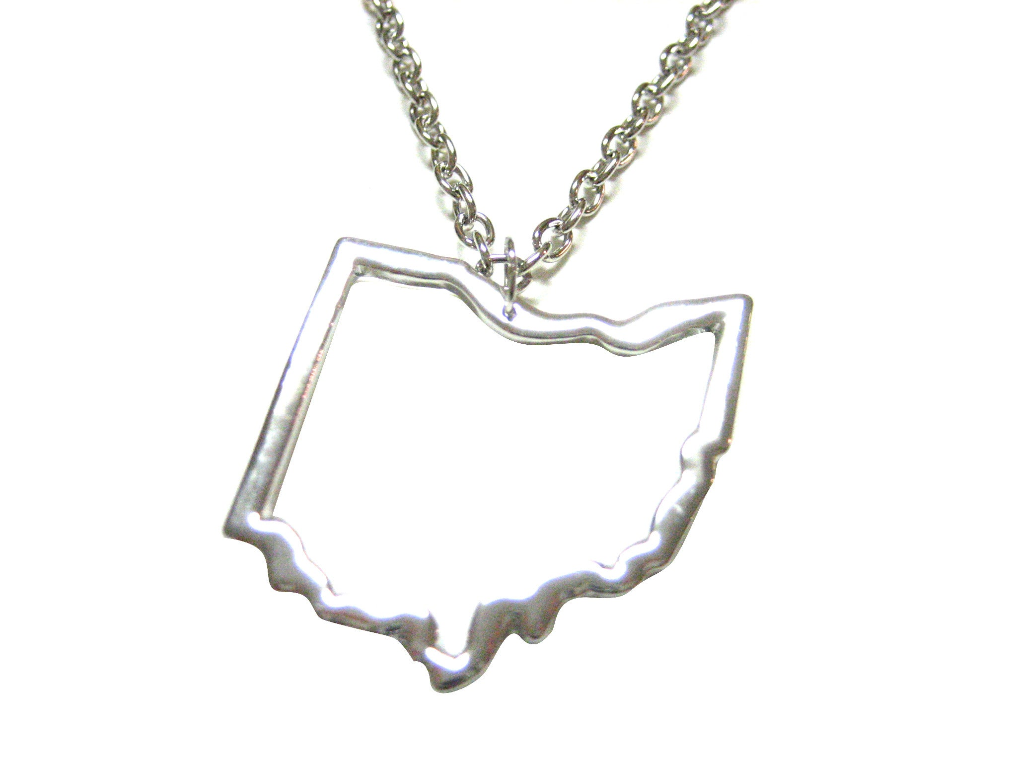Silver Toned Ohio State Map Outline Pendant Necklace
