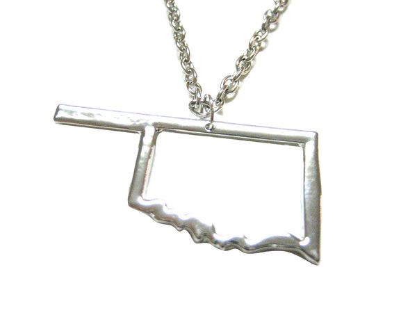 Silver Toned Oklahoma State Map Outline Pendant Necklace