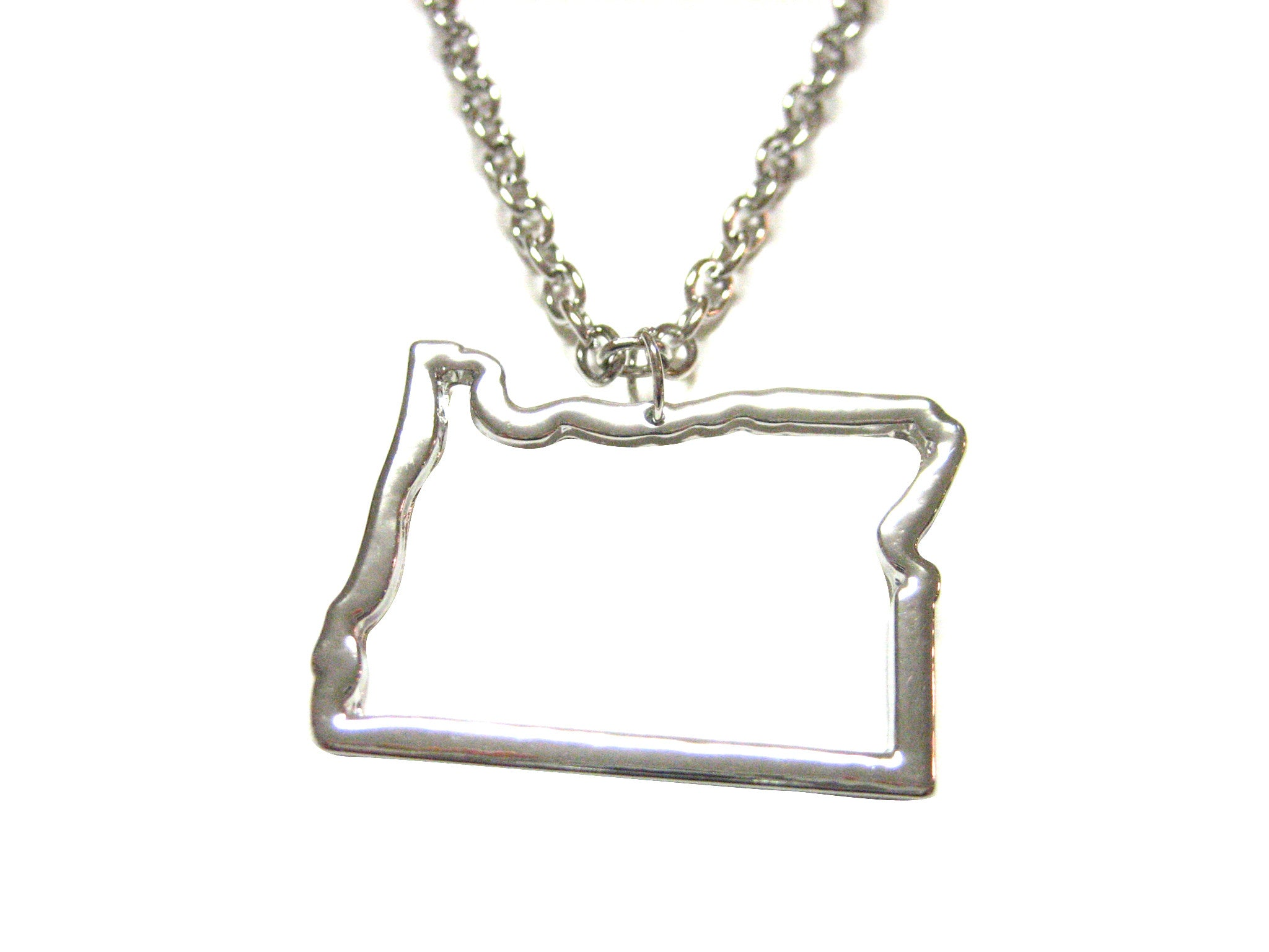 Silver Toned Oregon State Map Outline Pendant Necklace