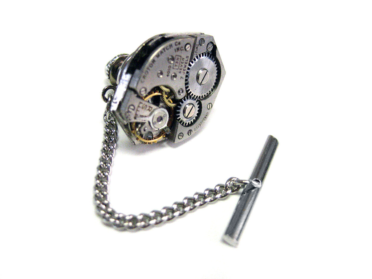 Classic Oval Watch Gear Steampunk Tie Tack