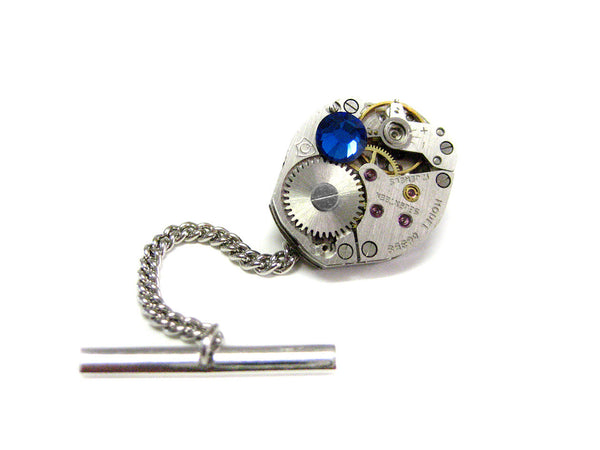 Oval Watch Gear Steampunk Tie Tack with Blue Swarovski Crystals