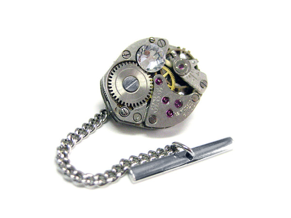 Watch Gear Steampunk Tie Tack with Clear Swarovski Crystals