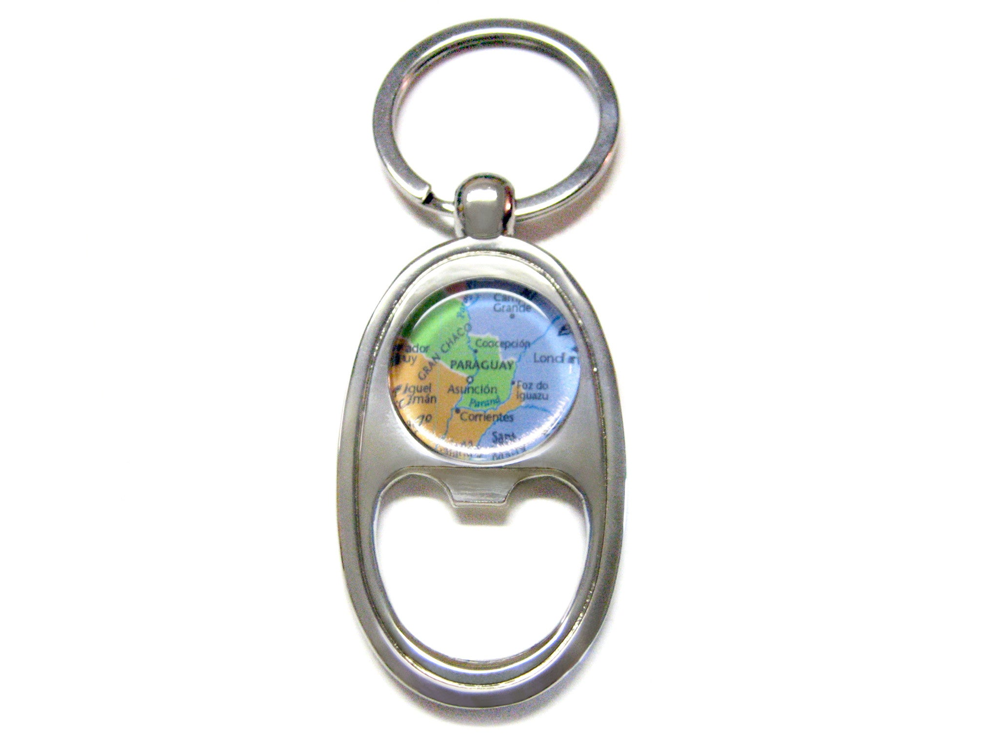 Paraguay Map Bottle Opener Key Chain
