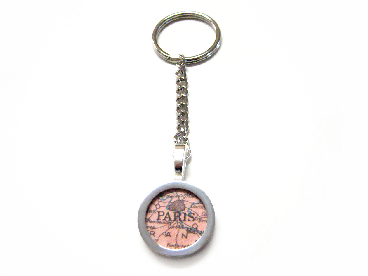Paris Map Key Chain