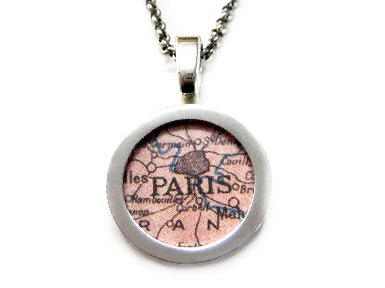 Paris Map Pendant Necklace
