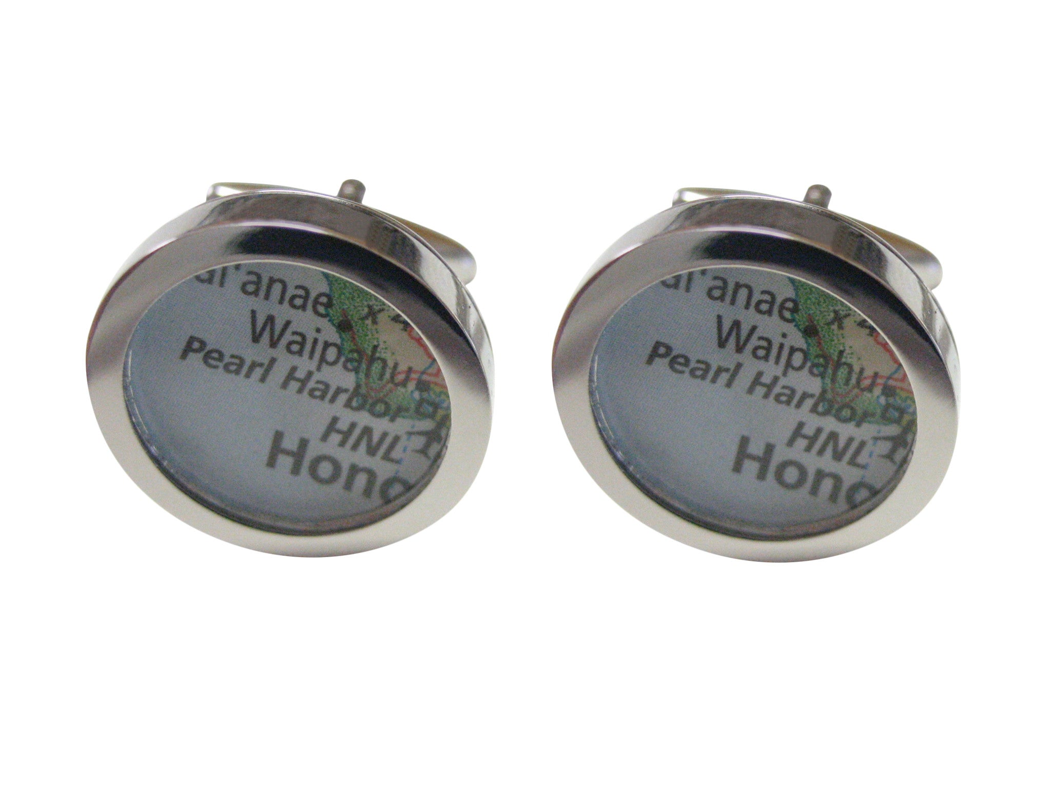 Pearl Harbor Hawaii Map Cufflinks