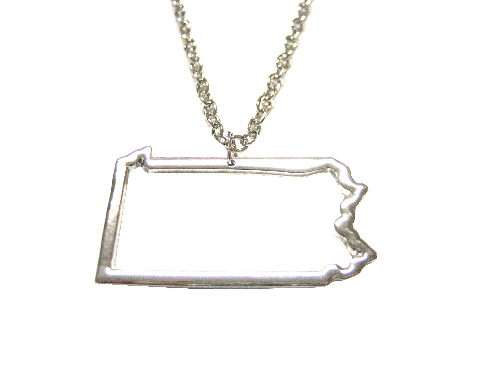 Silver Toned Pennsylvania State Map Outline Pendant Necklace