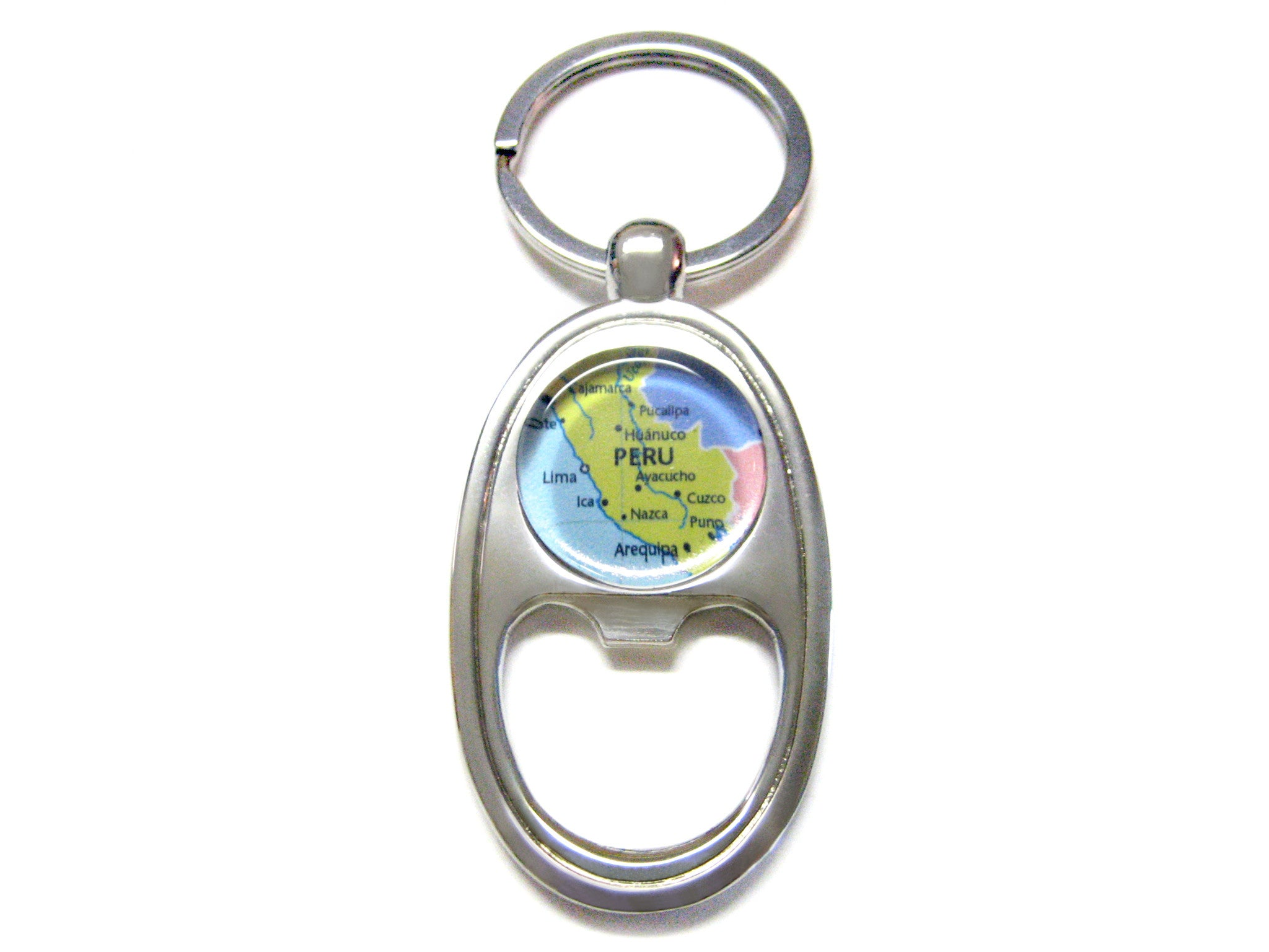Peru Map Bottle Opener Key Chain
