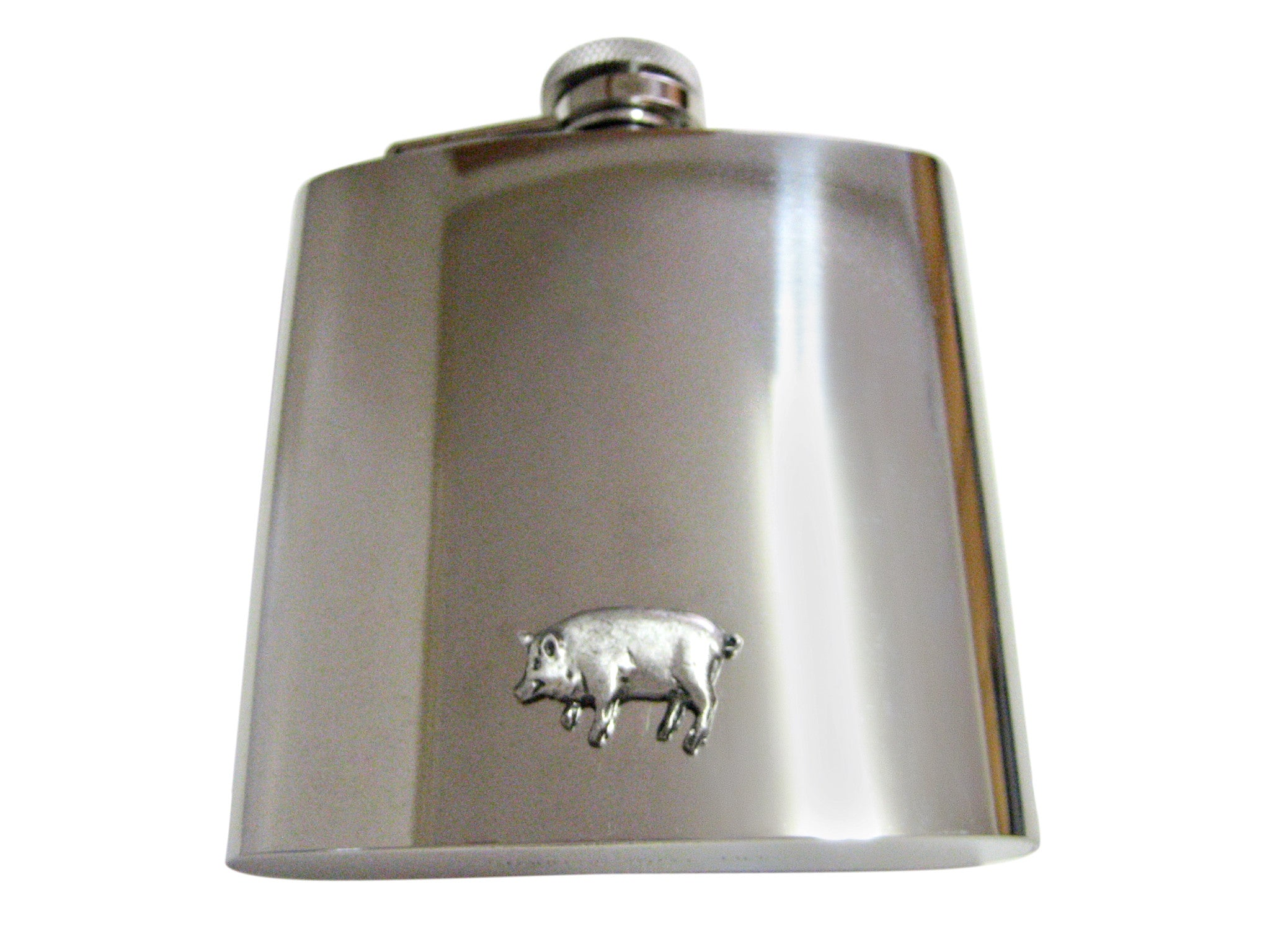 Pewter Pig 6 Oz. Stainless Steel Flask