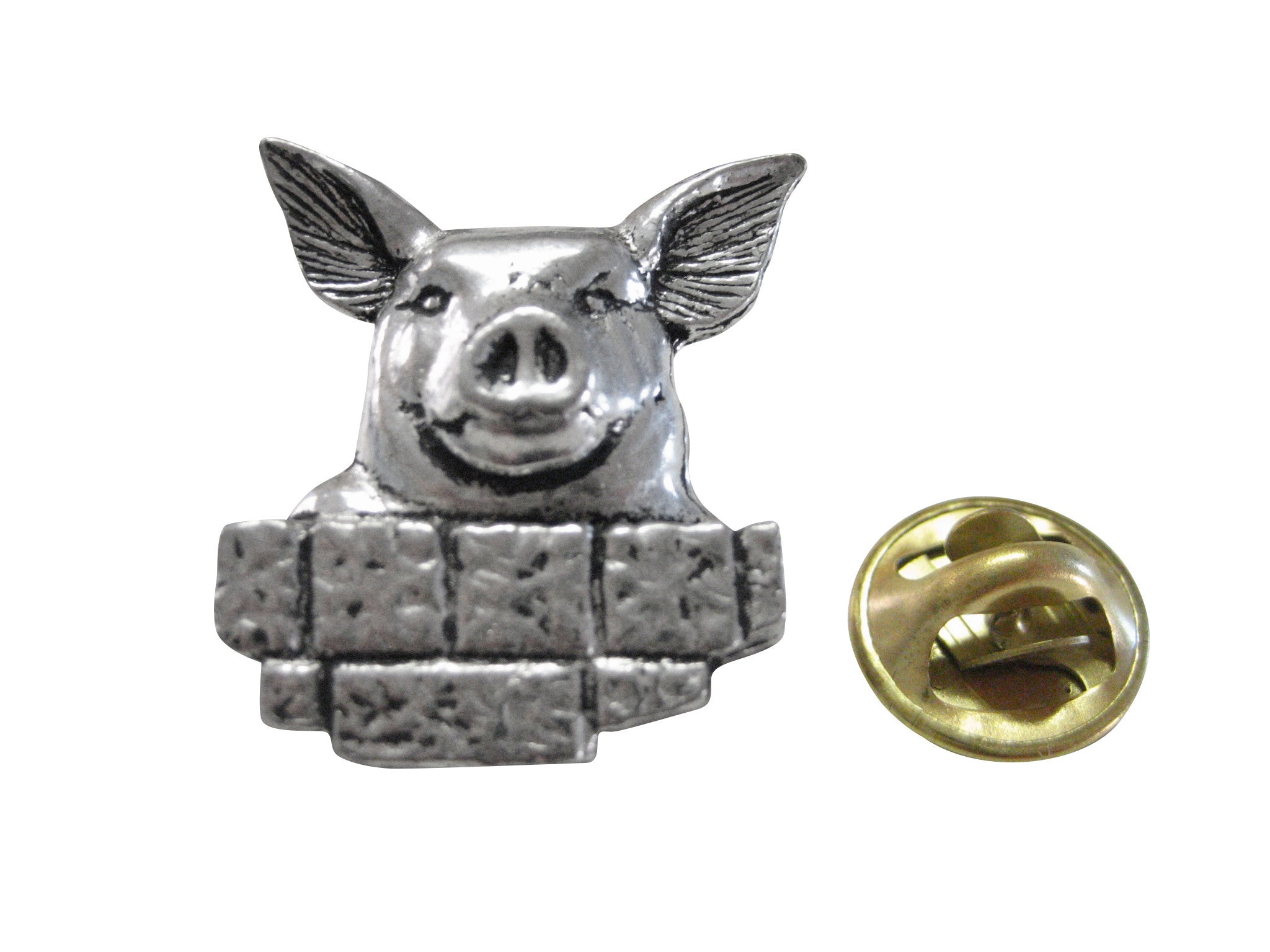 Pig with Bricks Lapel Pin