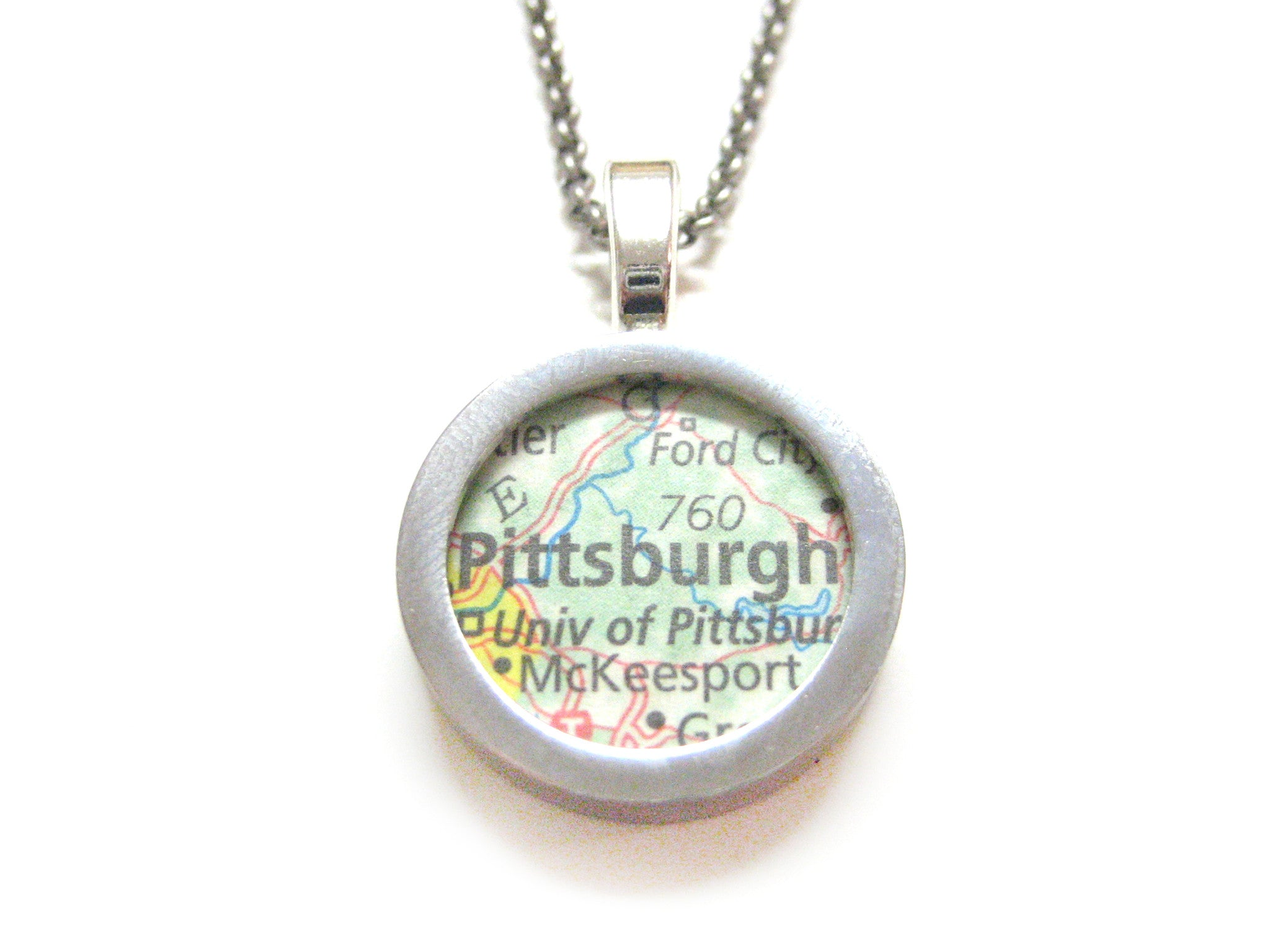 Pittsburgh Pennsylvania Map Pendant Necklace