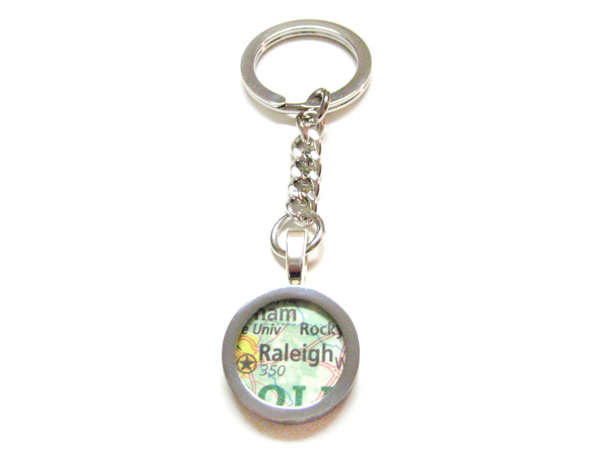 Raleigh North Carolina Map Pendant Keychain