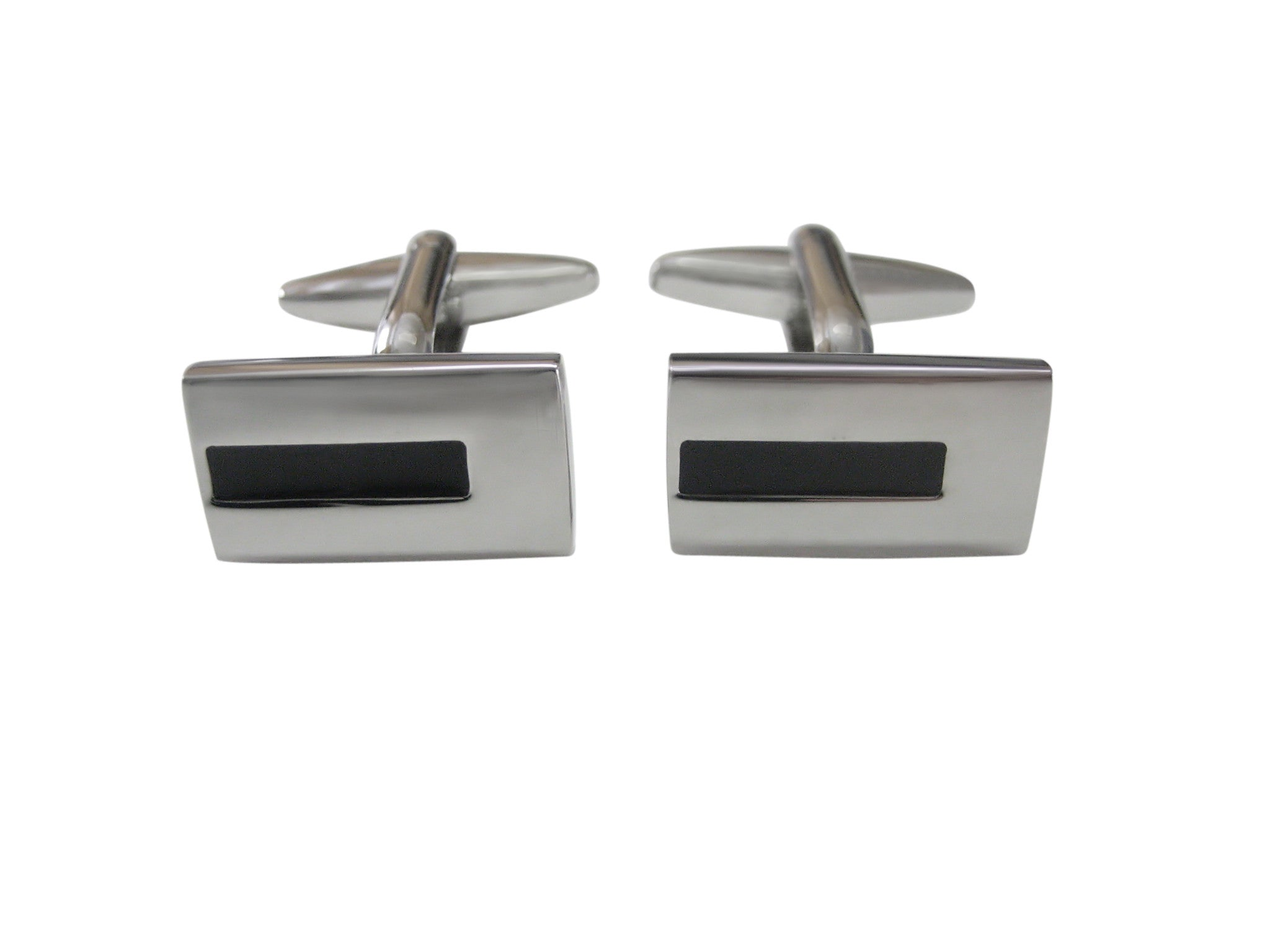 Rectangular Black Bar Design Cufflinks