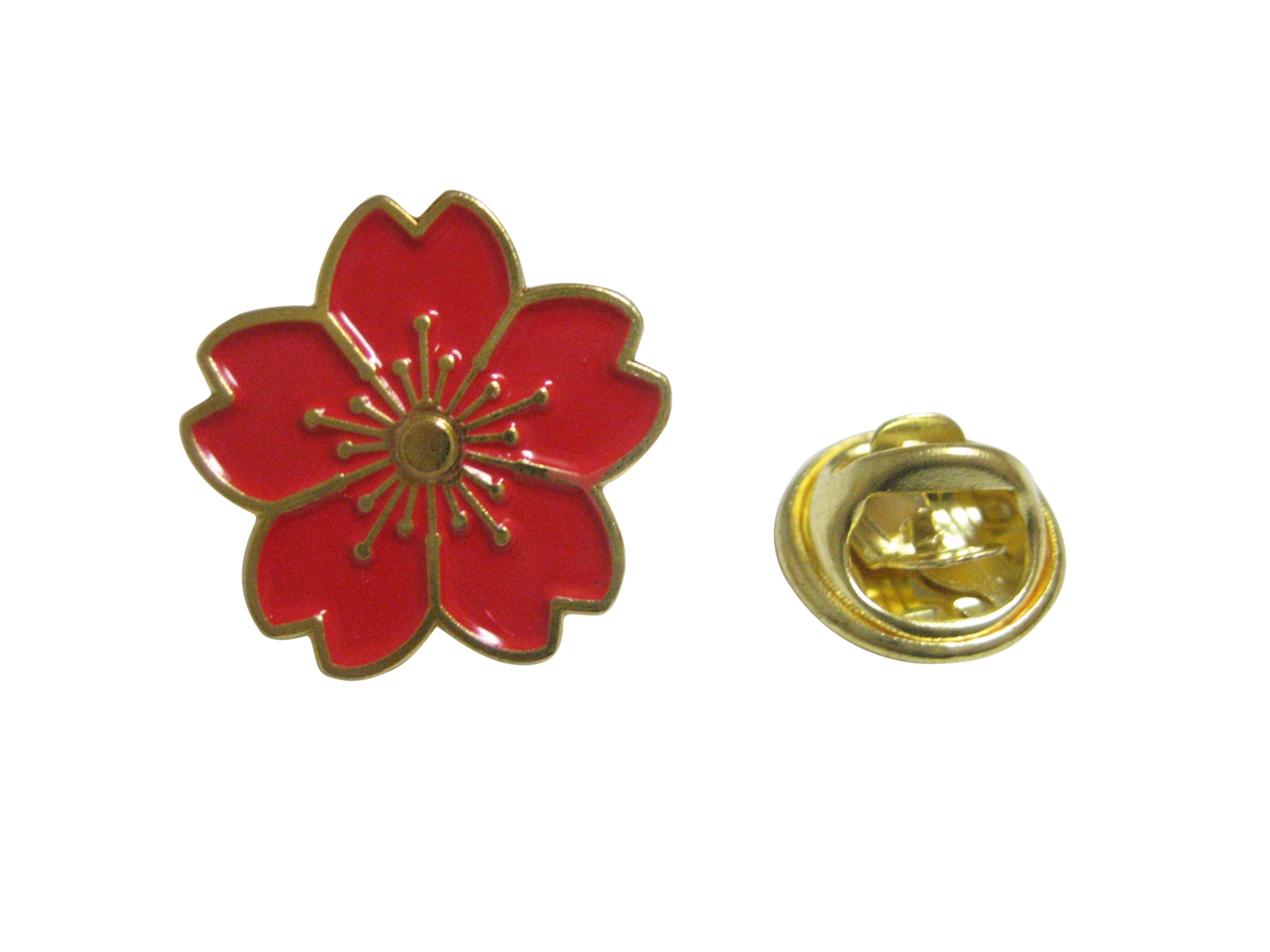 Red Cherry Blossom Flower Lapel Pin