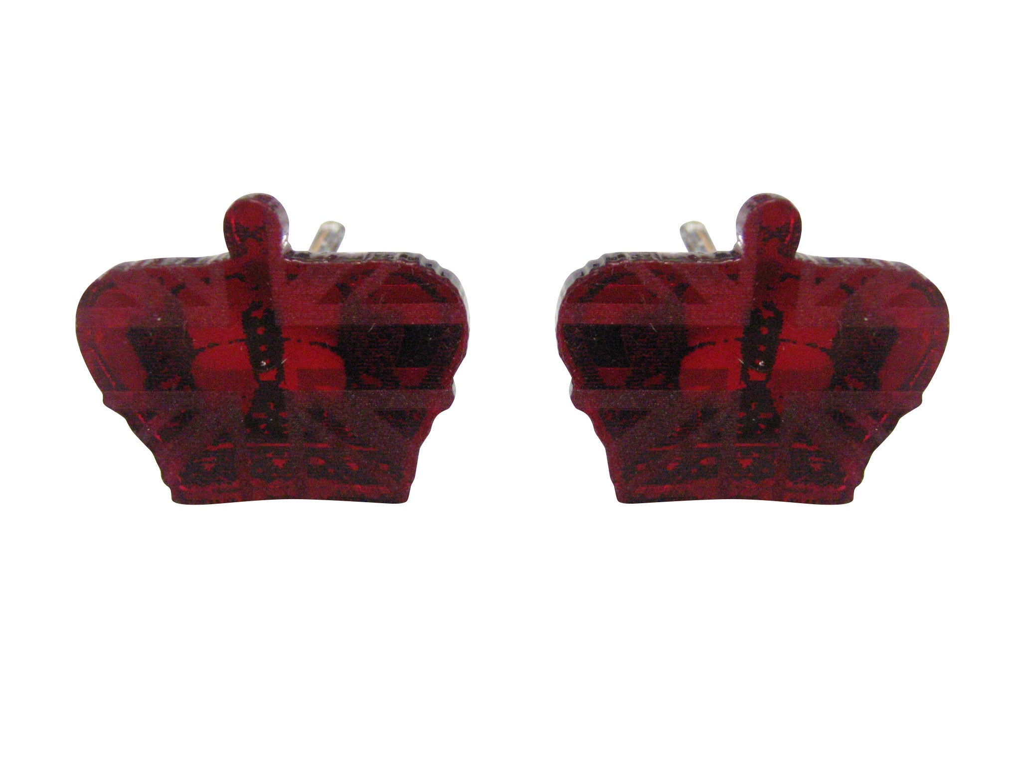 Red Toned Resin Crown Cufflinks