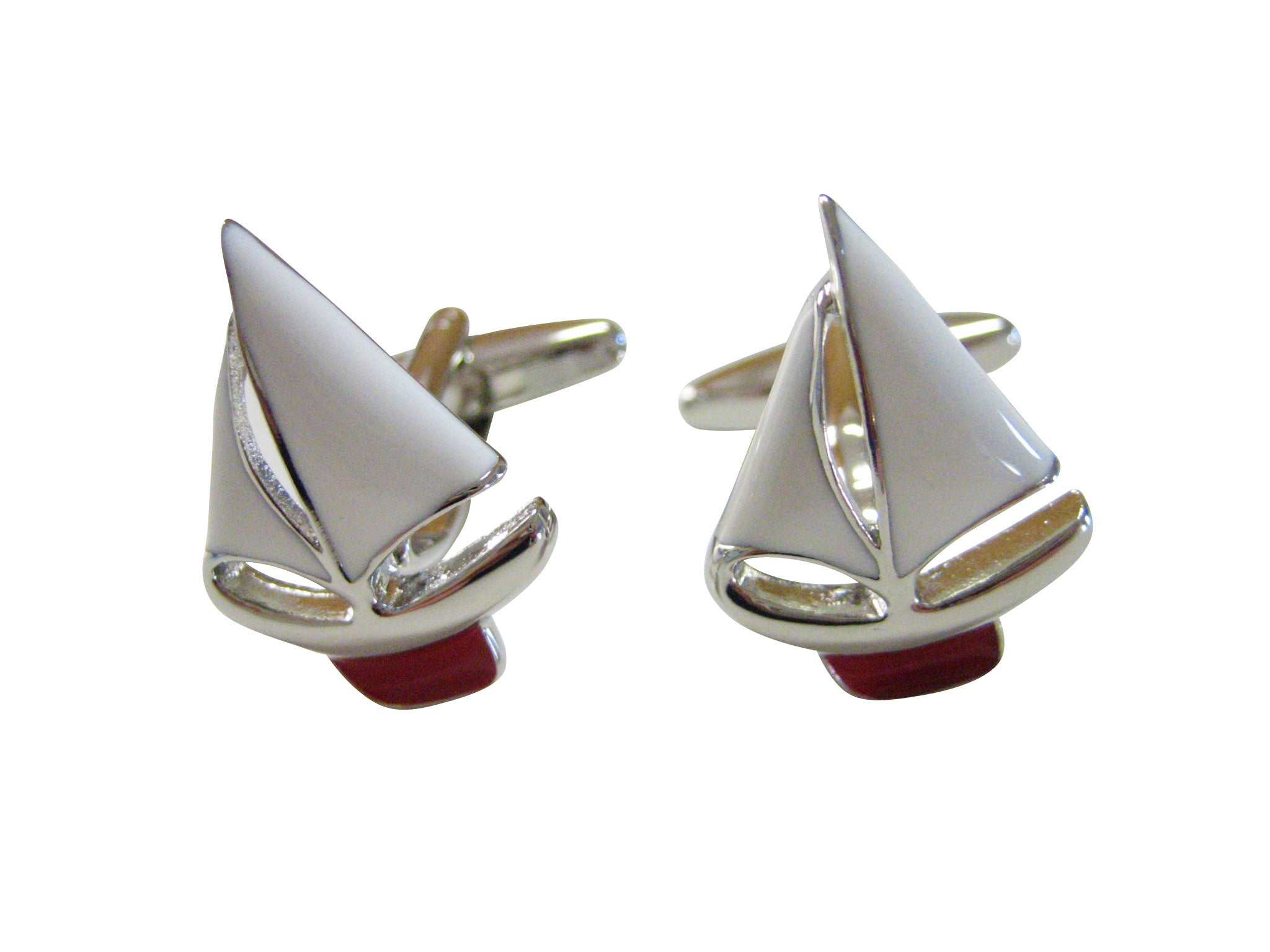 Red Sail Boat Cufflinks