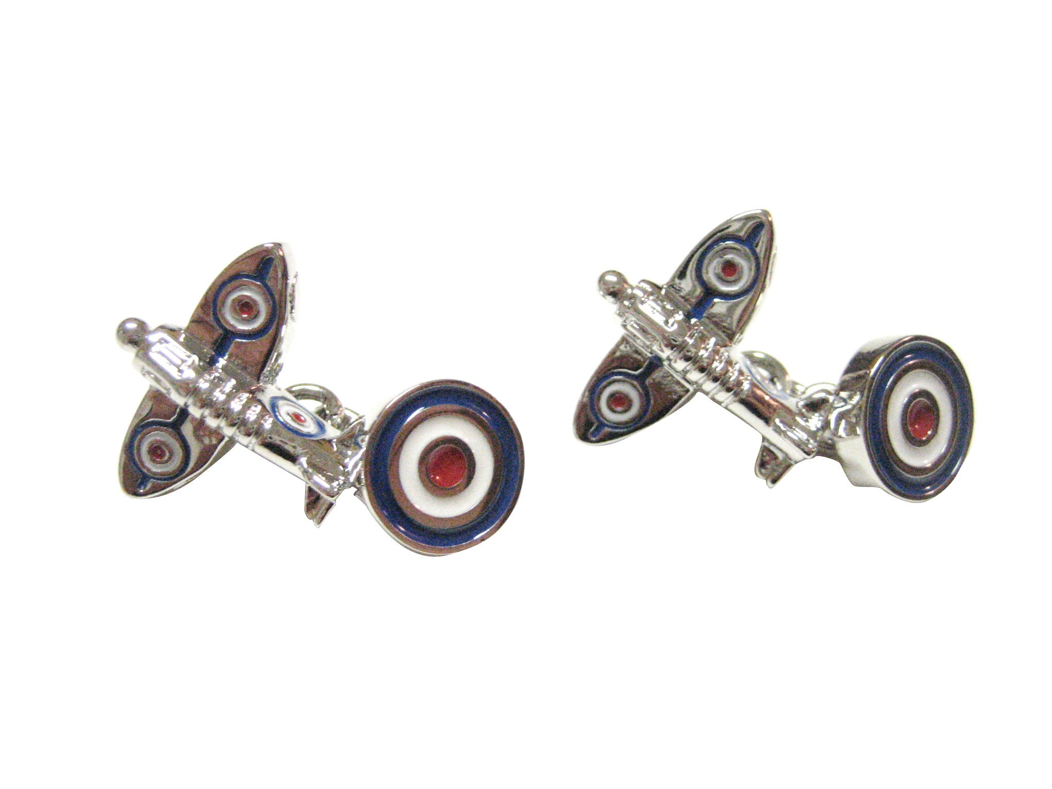 Two Toned Retro Plane And Roundrel Cufflinks