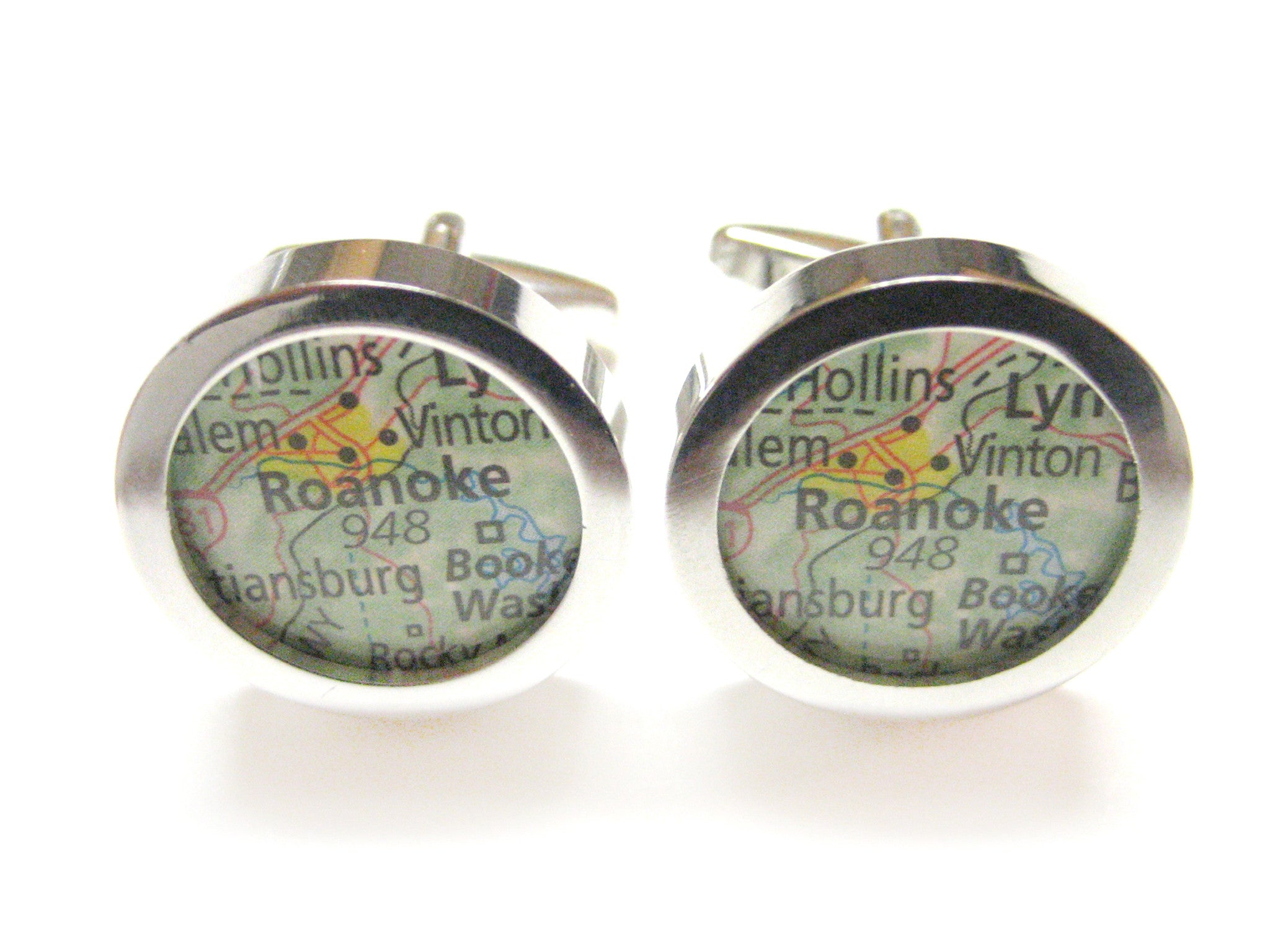 Roanoke Virginia Map Cufflinks