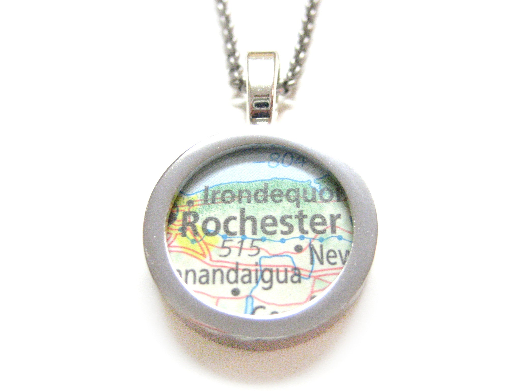 Rochester New York Map Pendant Necklace
