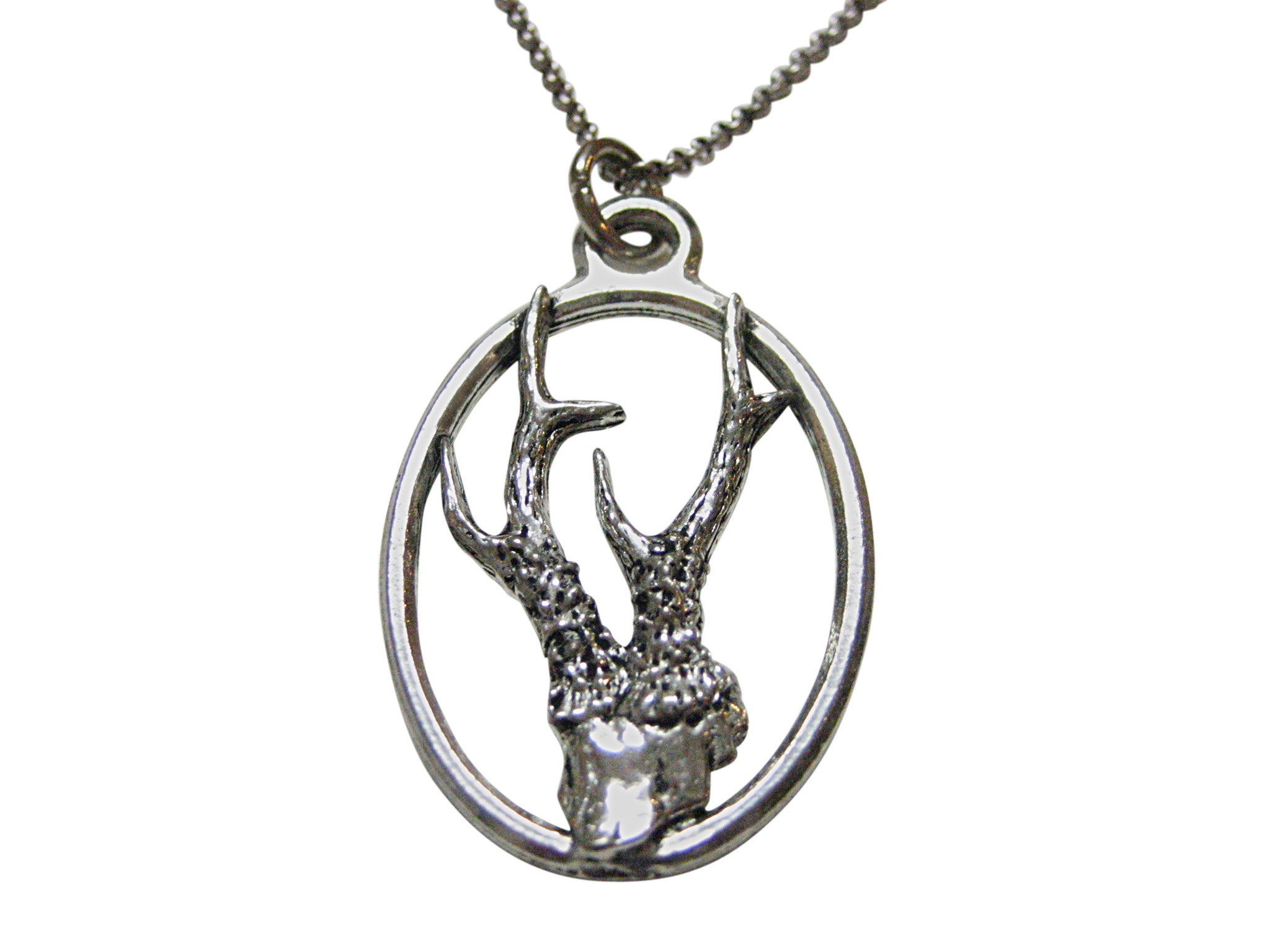 Roe Buck Deer Antler Large Oval Pendant Necklace