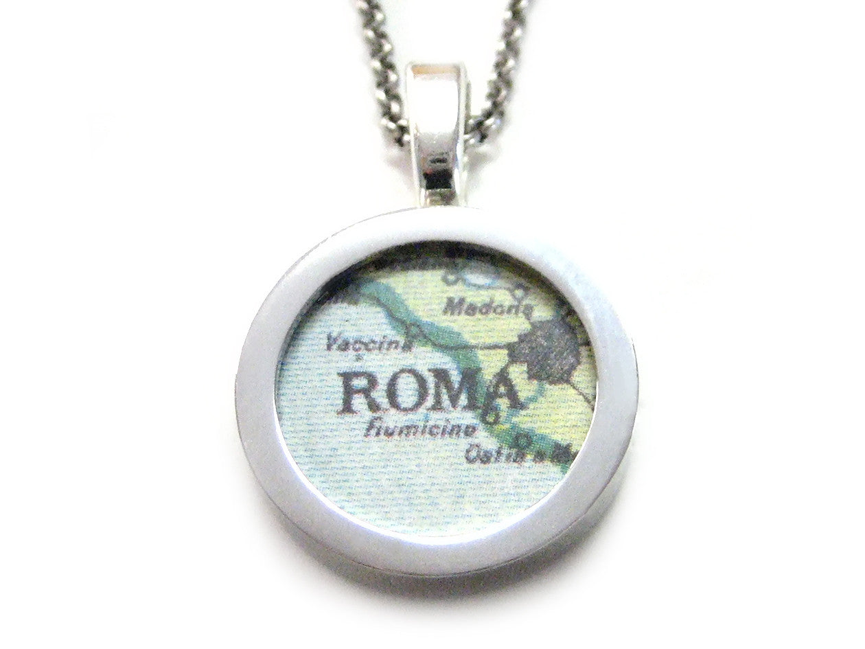 Rome Map Pendant Necklace