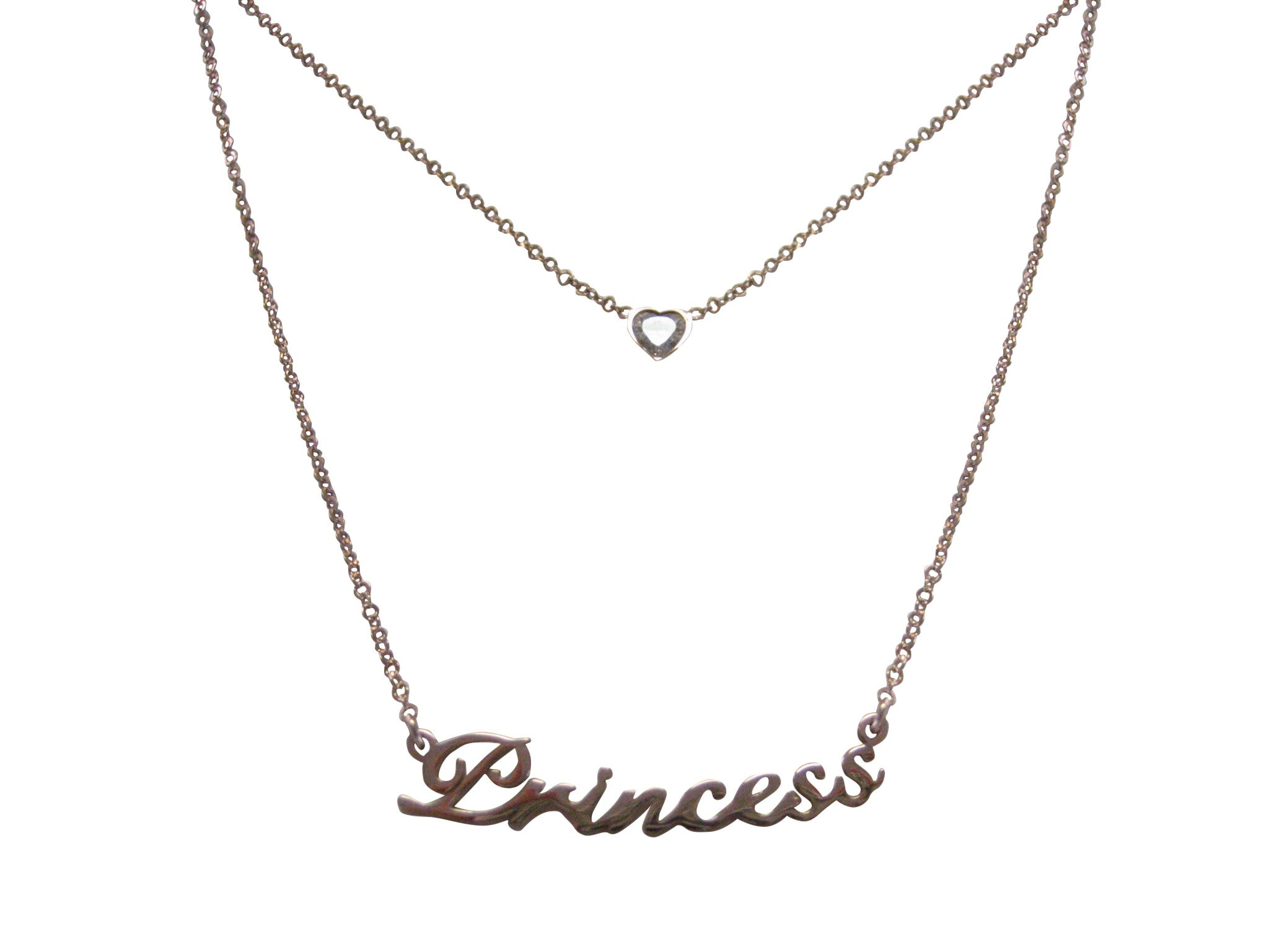 Rose Gold Toned Princess Pendant Necklace
