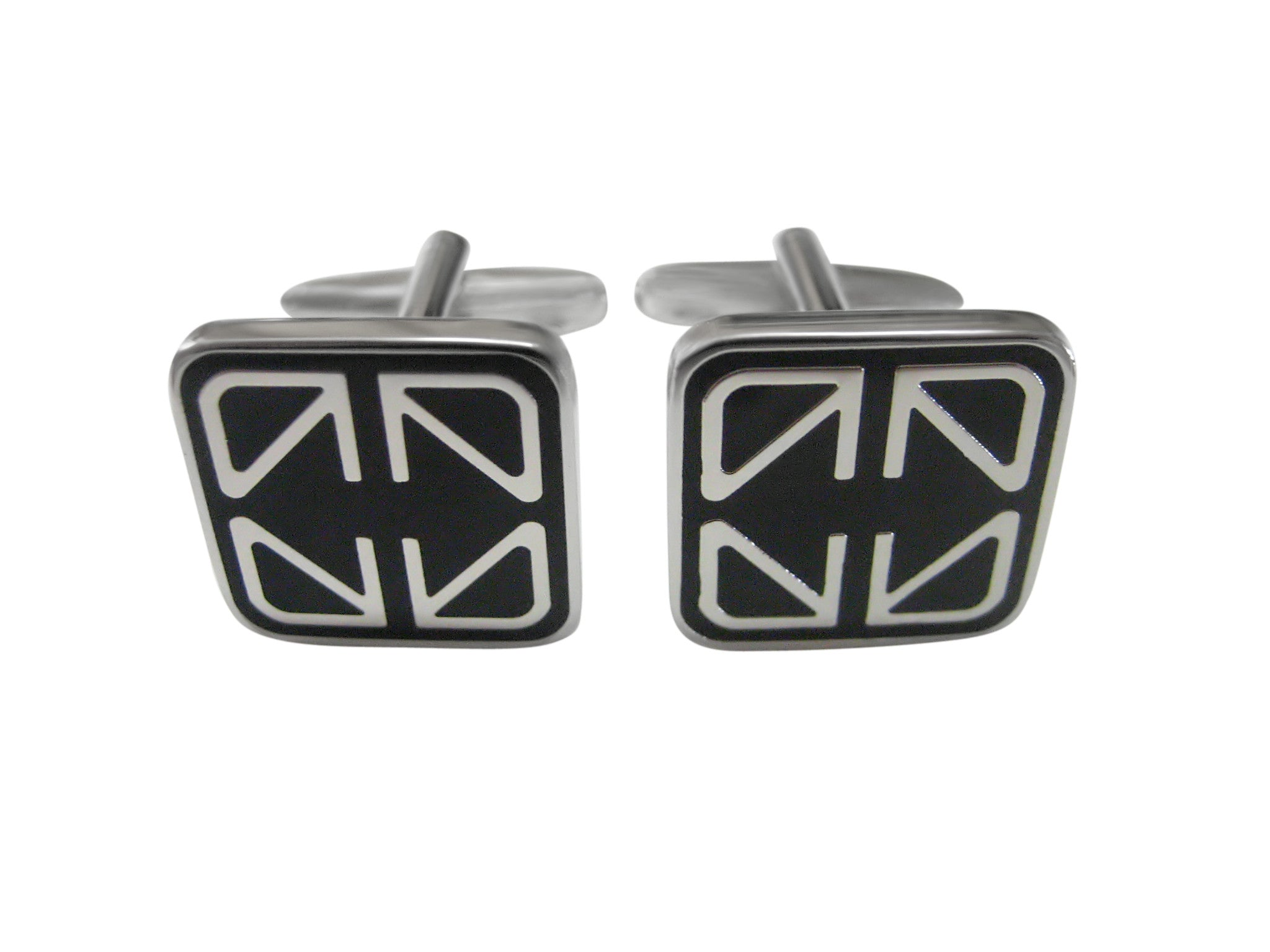 Rounded Square Black Line Cufflinks