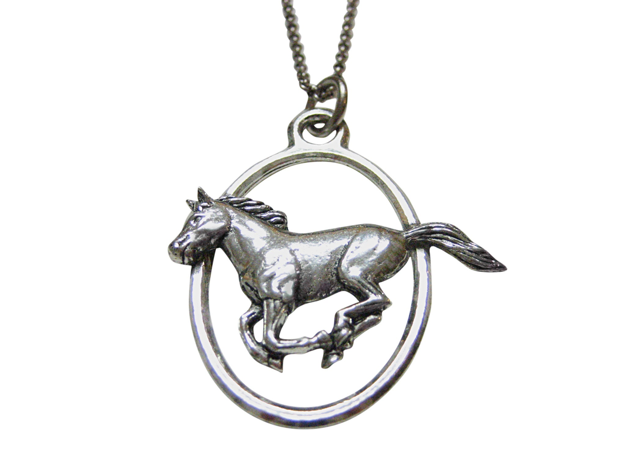 Running Horse Large Oval Pendant Necklace