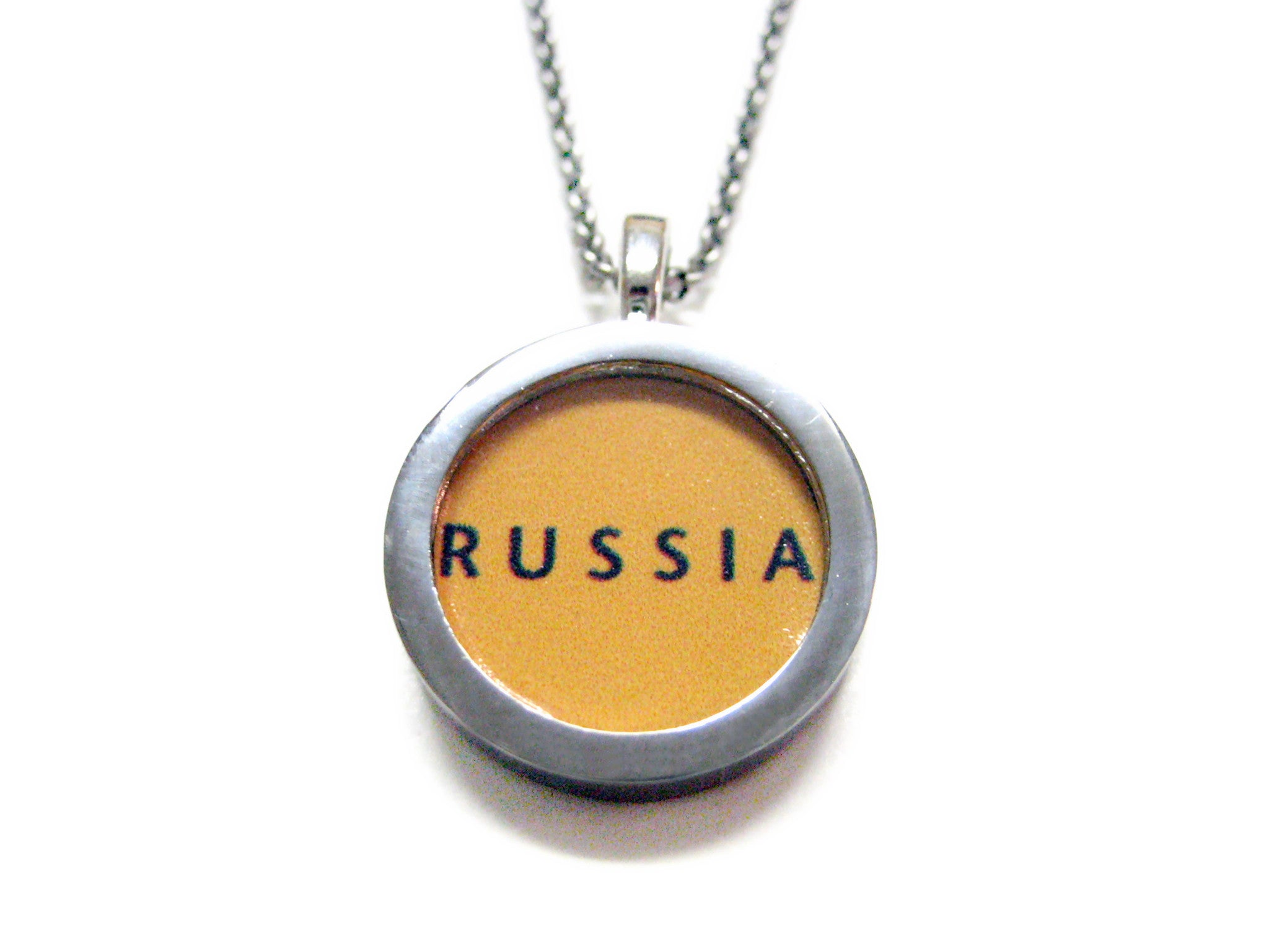 Russia Map Pendant Necklace